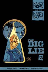 Omslag till ett av seriemagasinen om Kitty och bröderna Hardy. Publicerat av Dynamite Comics 2018.