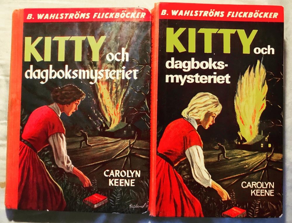 Originalomslaget är det till vänster. Senare blev Kitty plötsligt blondin.