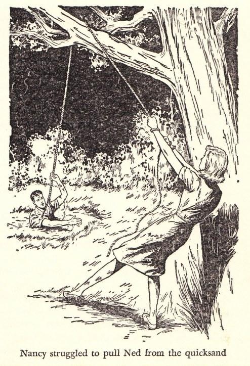 Kitty räddar Ned i en illustration från den amerikanska utgåvan.