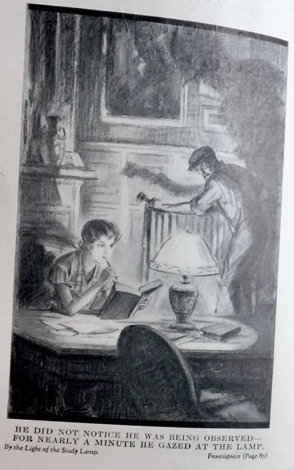"Illistration från den amerikanska utgåvan av ""By the light of the study lamp"""