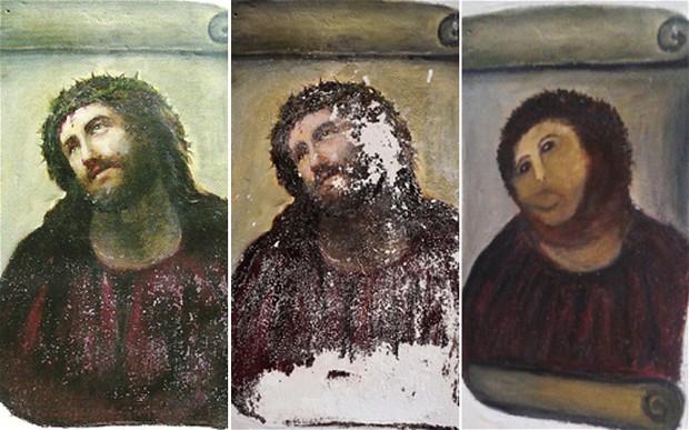 """Före och efter damens försök att restaurera """"Ecce Homo"""" av Elias Garcia Martinez."""