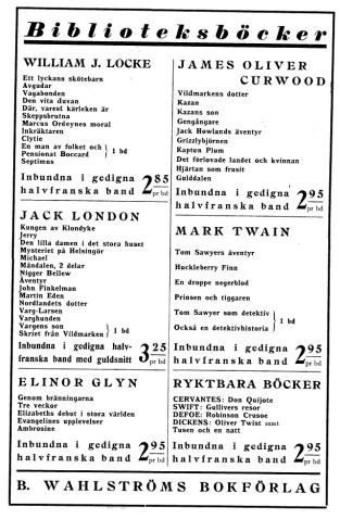 Lista över B. Wahlströms böcker.