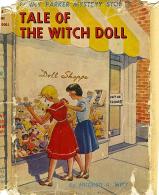 Ett annat omslag till boken med Penny och Louise utanför väninnan Nellies dockaffär.