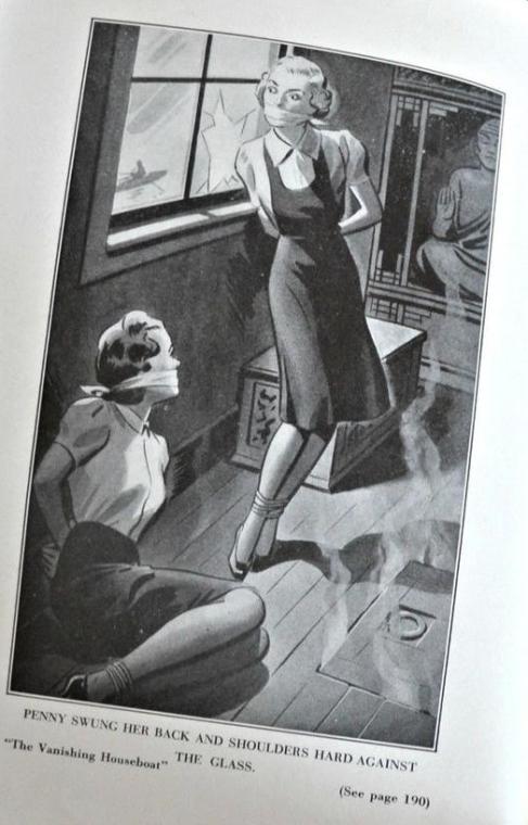 Illustration från den tidigare versionen av boken där Penny och Louise har hamnat i trubbel.