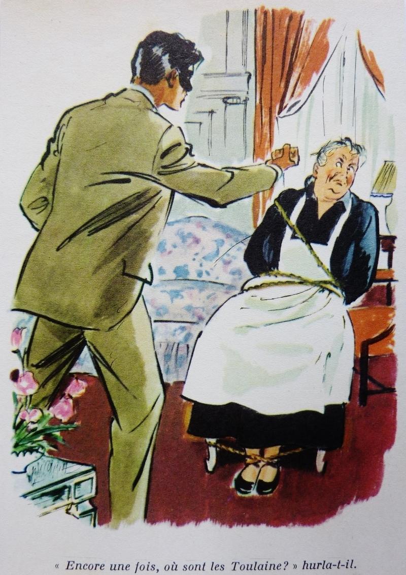 En av Albert Chazelles illustrationer från den franska versionen av boken. När Hannah blir bunden.