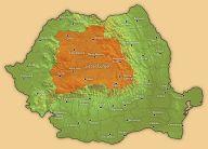 Transsylvanien markerat på kartan över Rumänien.