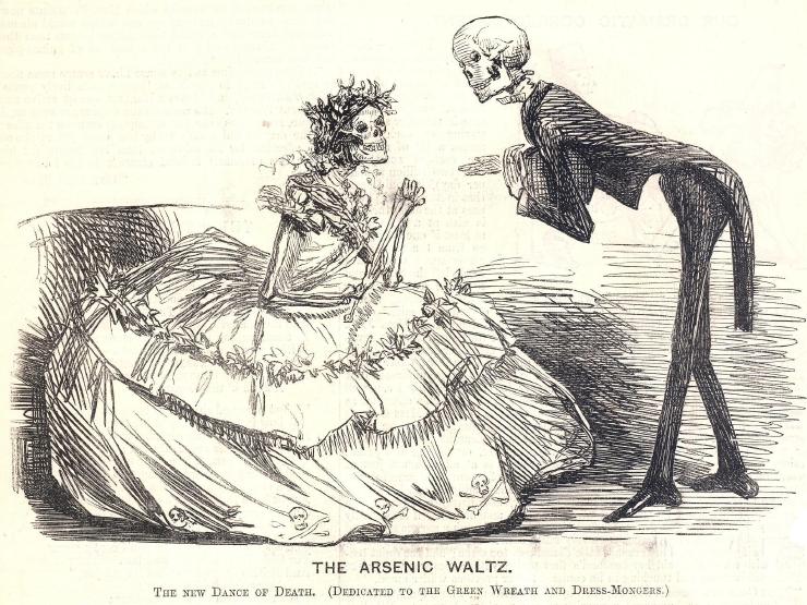 """Ett skelett bjuder upp ett annat till """"Arsenik vals""""."""